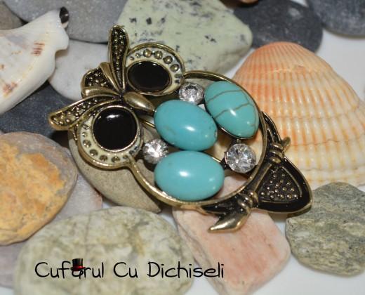 ac brosa, bijuterii cu strasuri, bijuterii strasuri, cufarul cu dichiseli, brosa vintage, bijuterii bufnita, brosa bufnita