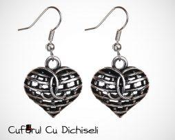 bijuterii inima, cercei inima, cercei ieftini, cercei vintage, cufarul cu dichiseli, cercei argintii, bijuterii antice, tibet silver, cercei deosebiti, cercei rotunzi, cercei speciali