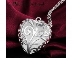 bijuterii 925, bijuterii argint 925, cufarul cu dichiseli, lant argint, pandantiv, lant cu pandantiv, pandantiv argint, pandantiv inima, pandantiv inima jumatate