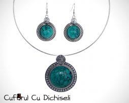 Set bijuterii din argint tibetan, piatra in montura.