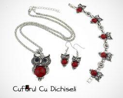 Set bijuterii Bufnita, simbolul intelepciunii.