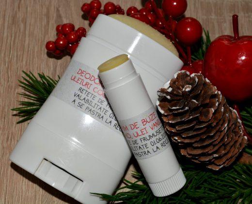 Set deodorant natural si balsam de buze handmade.