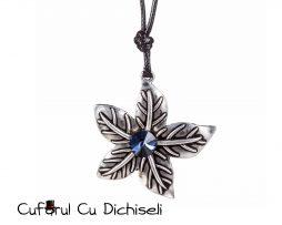 Lant cu pandantiv floare din argint tibetan