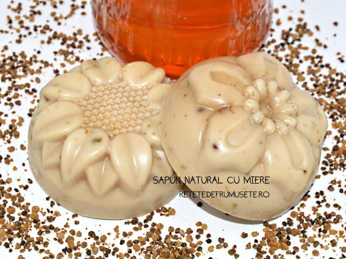 Săpun natural cu miere, hidratant și emolient, deosebit de bun pentru pielea sensibilă și uscată
