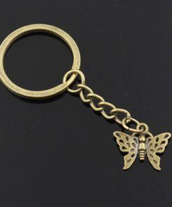 Breloc chei cu pandantiv fluture, simbolul iubirii și sufletului pereche