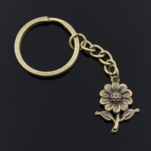 Breloc chei cu pandantiv floarea soarelui,simbolul norocului, bogăției și ambiției.