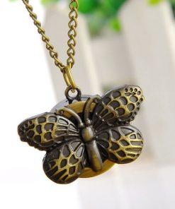Ceas de buzunar cu lanț și pandantiv fluture