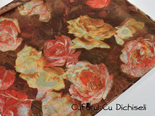 Esarfa matase cu imprimeu floral, diverse culori