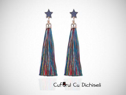 Cercei handmade, franjuri din material textil, diverse culori