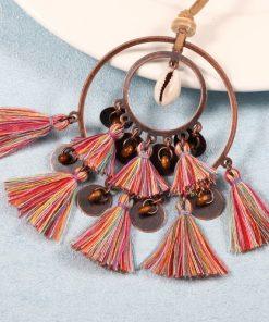 Coliere handmade din piele, metal și franjuri din bumbac