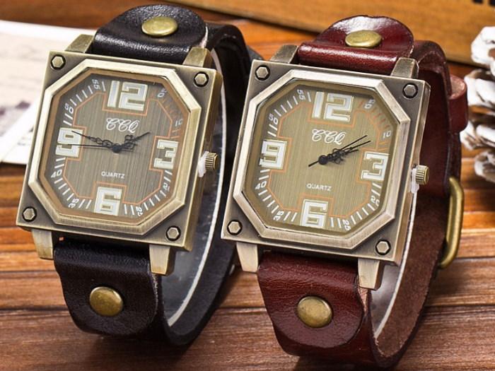 ceasuri cadran pătrat și curea piele, diverse culori