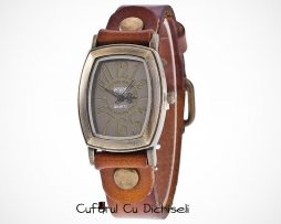 Ceasuri dama curea piele diverse culori, mecanism quartz