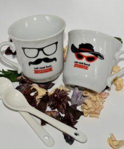 Set cești espresso cu linguriță din ceramică
