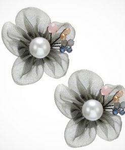 Cercei floare din mătase, perle și mărgele