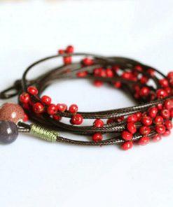 Brățări handmade cu mărgele și șnur din mătase