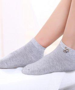 Șosete bumbac cu mărgele și strasuri aplicate