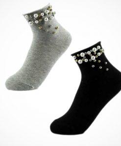 Șosete bumbac cu perle și mărgele aplicate