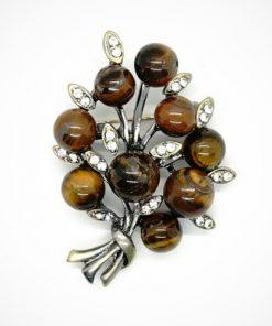Broșe vintage cu mărgele și pietre semiprețioase