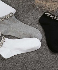 Șosete decorative Crăciun cu perle și mărgele aplicate