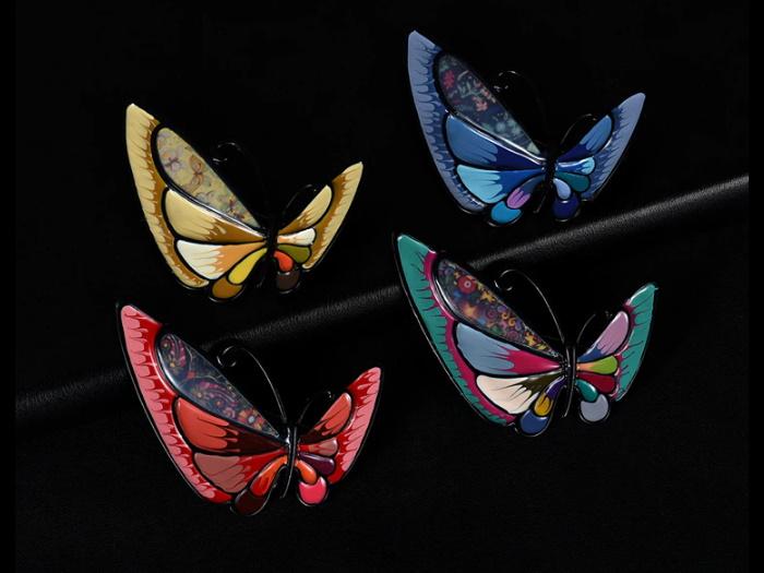 broșe fluturi email colorați