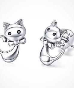 Cercei cu pisici din argint