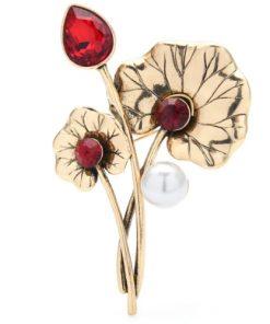 Broșă floare cu pietre roșii