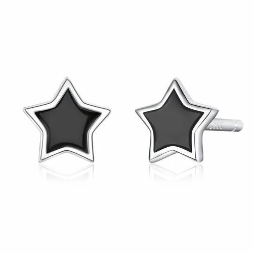 Cercei din argint Black Stars Studs