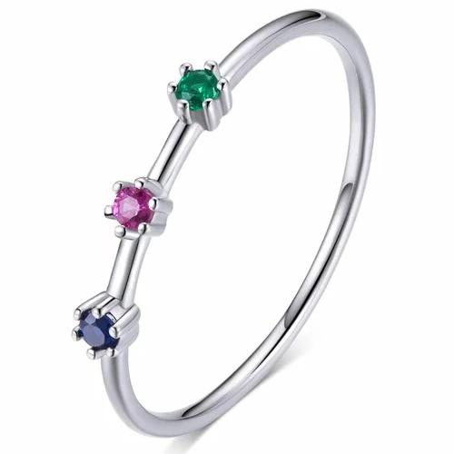 Inel din argint Glamour Rainbow Stones