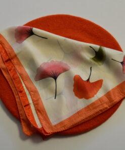 Set beretă orange și eșarfă satin